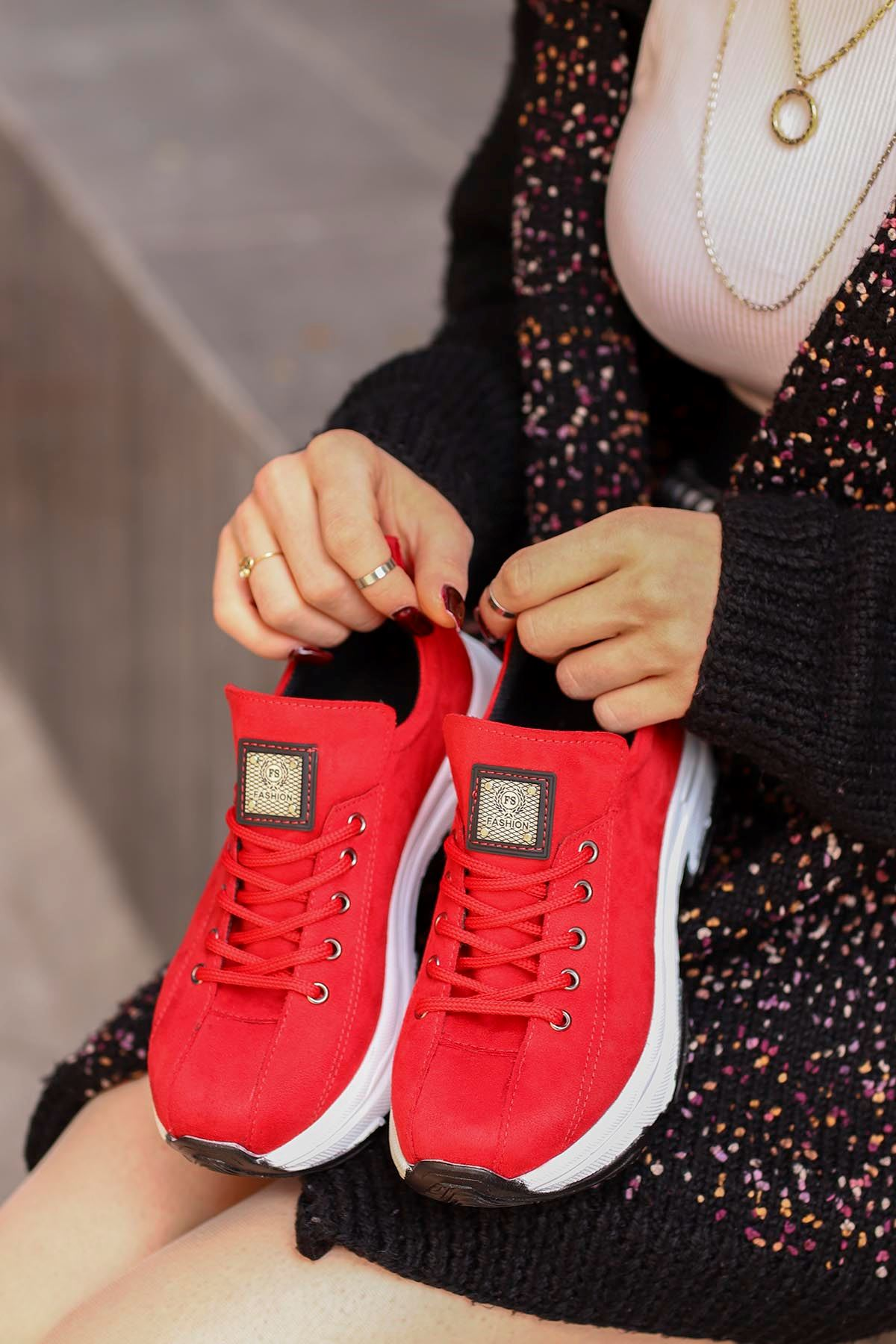 Frm-701 Spor Ayakkabı Kırmızı Süet