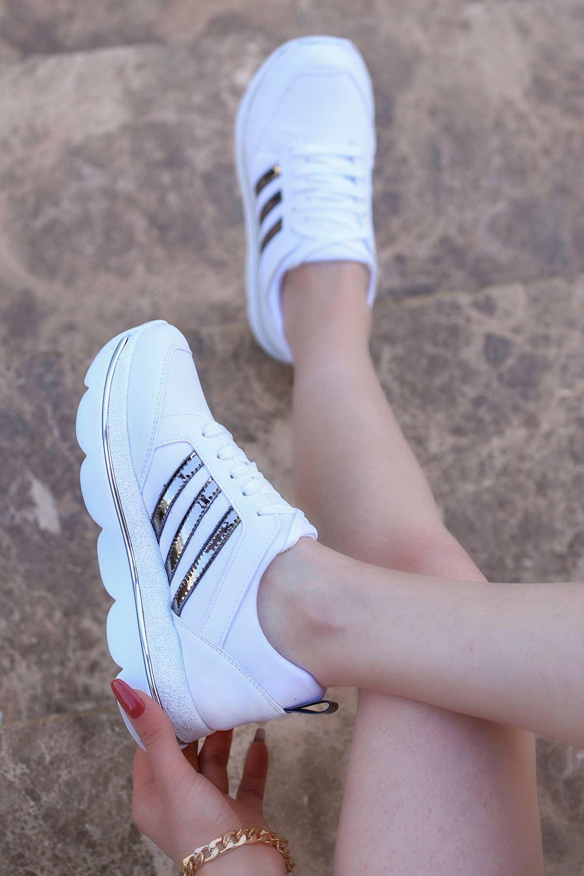 Velvet Beyaz Bağlı Dolgu Spor
