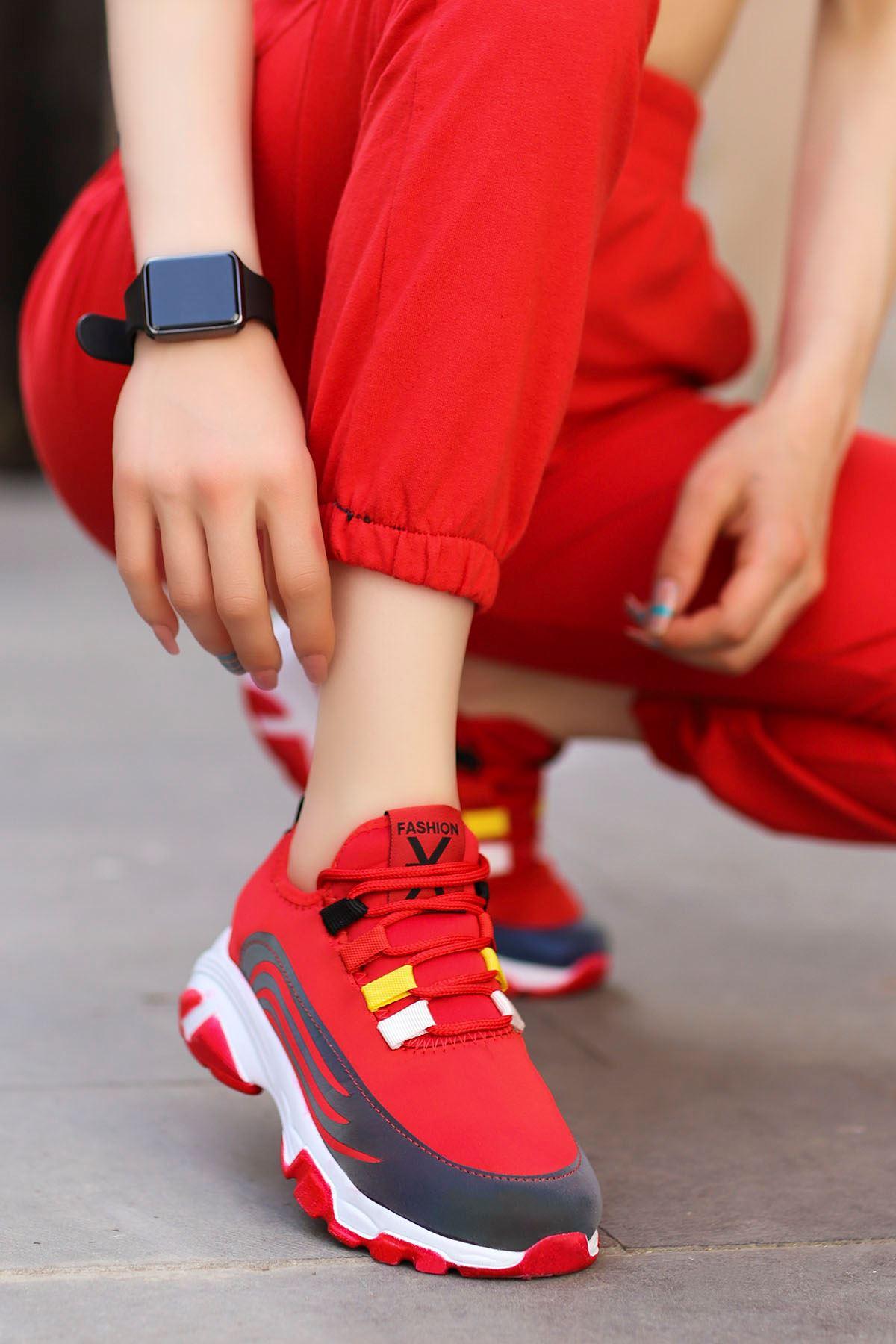 Napa Kırmızı Bağlı Sneakers