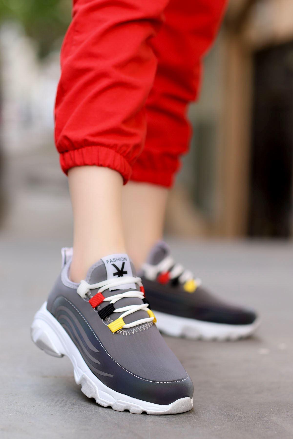 Napa Gri Bağlı Sneakers