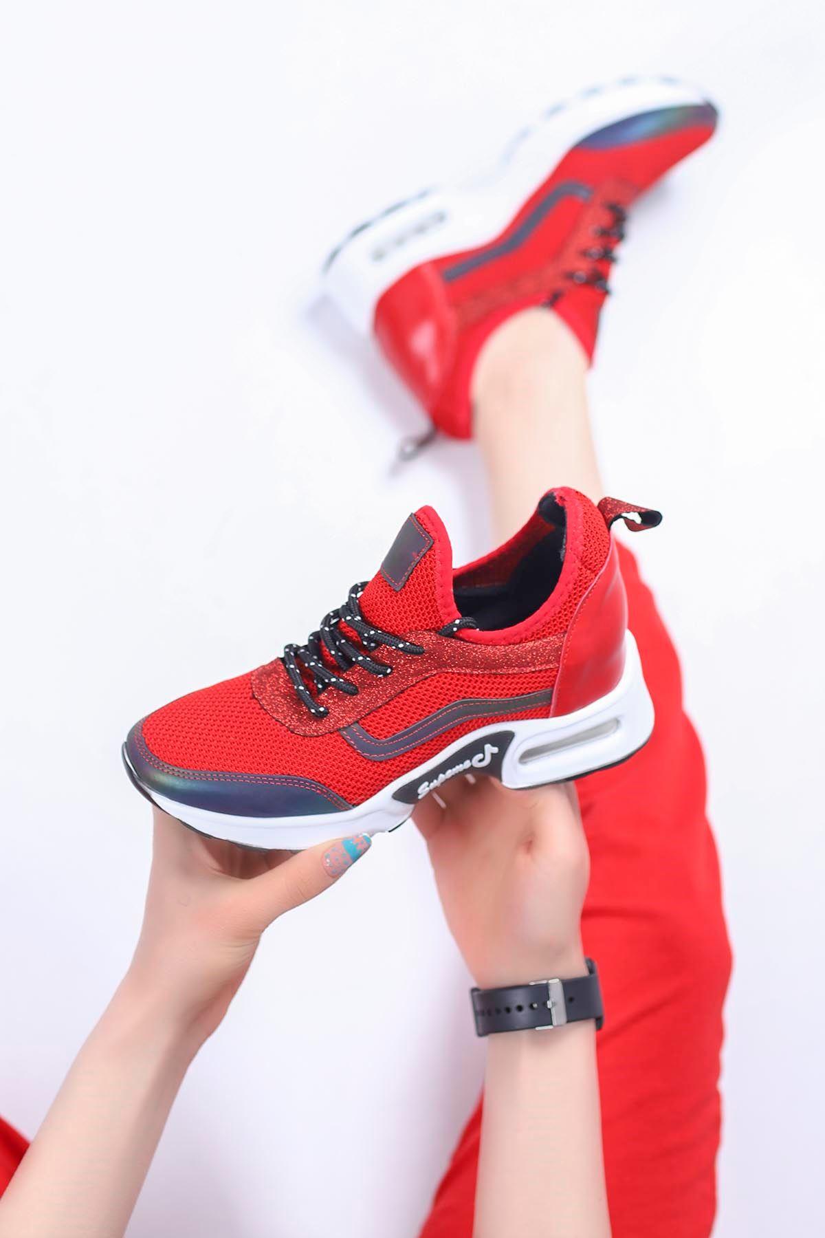 Sinyora Gizli Topuk Air Taban Triko Sneakers Kırmızı
