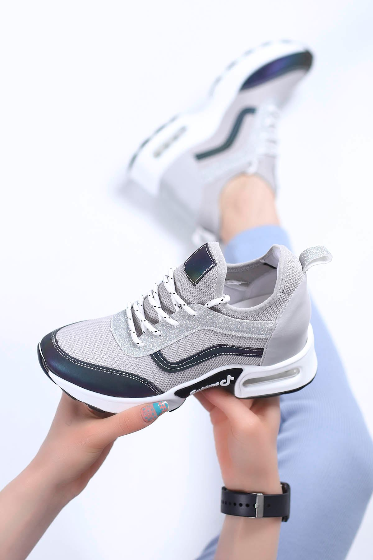 Sinyora Gizli Topuk Air Taban Triko Sneakers Gri