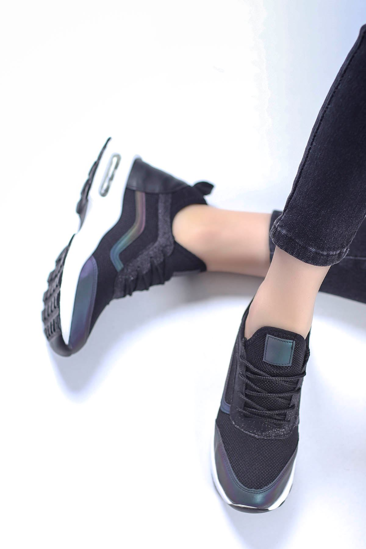 Sinyora Gizli Topuk Air Taban Triko Sneakers Siyah