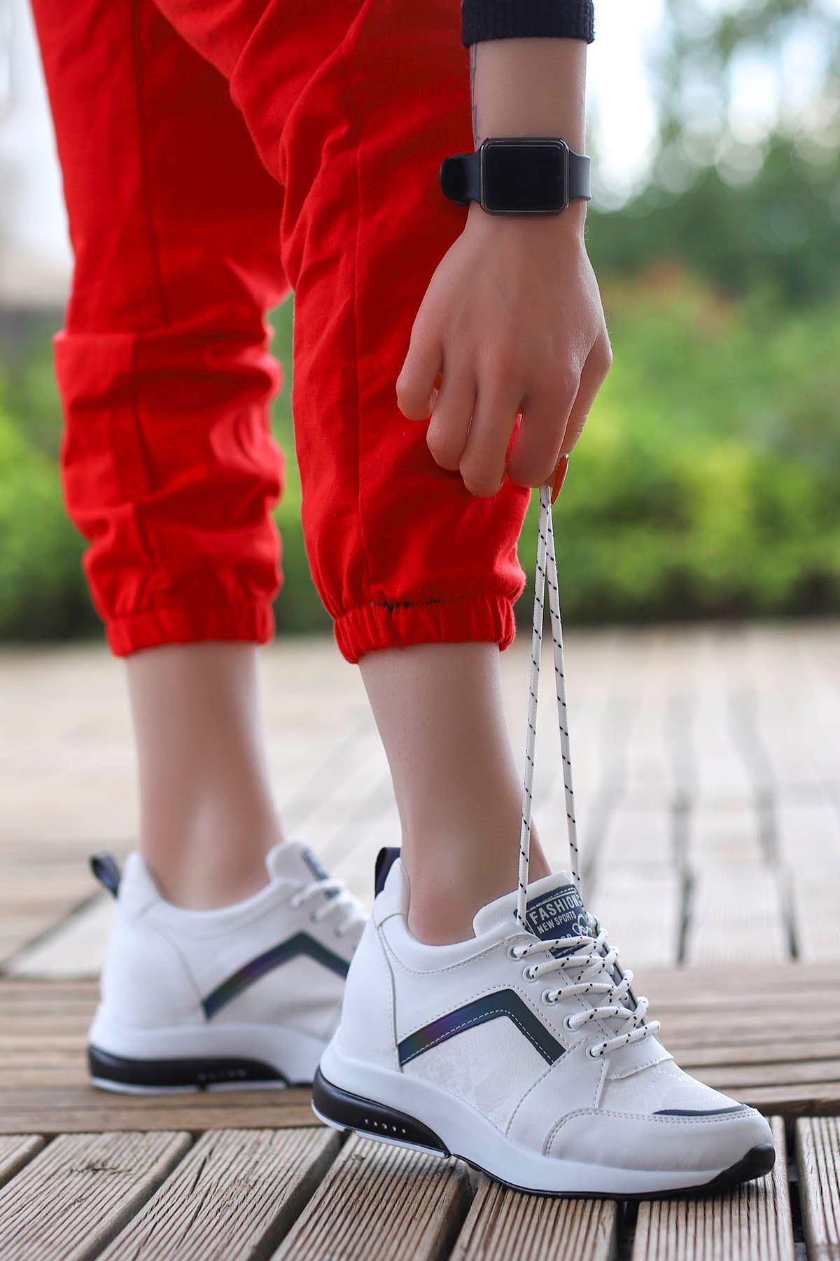 Singapur Gizli Dolgu Spor Ayakkabı Beyaz