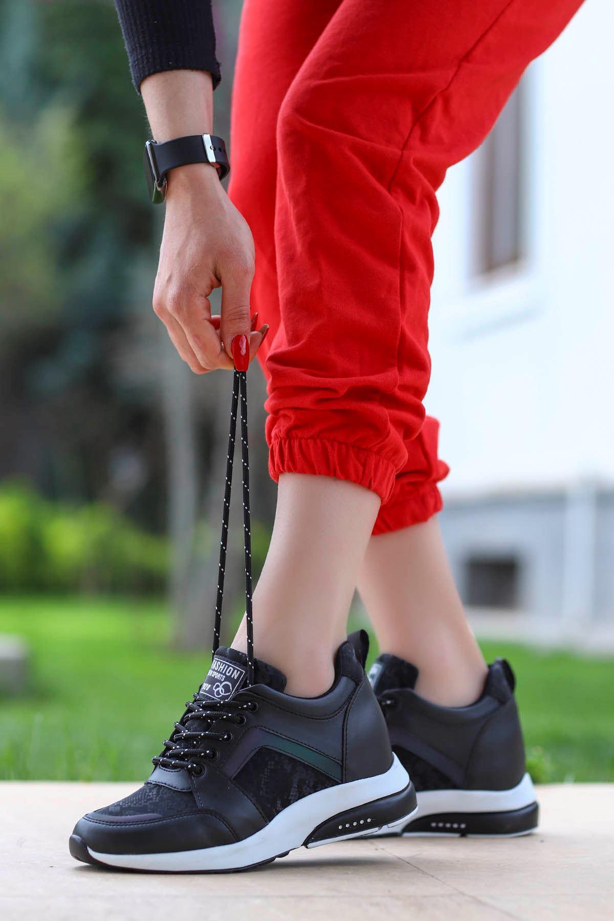Singapur Gizli Dolgu Spor Ayakkabı Siyah