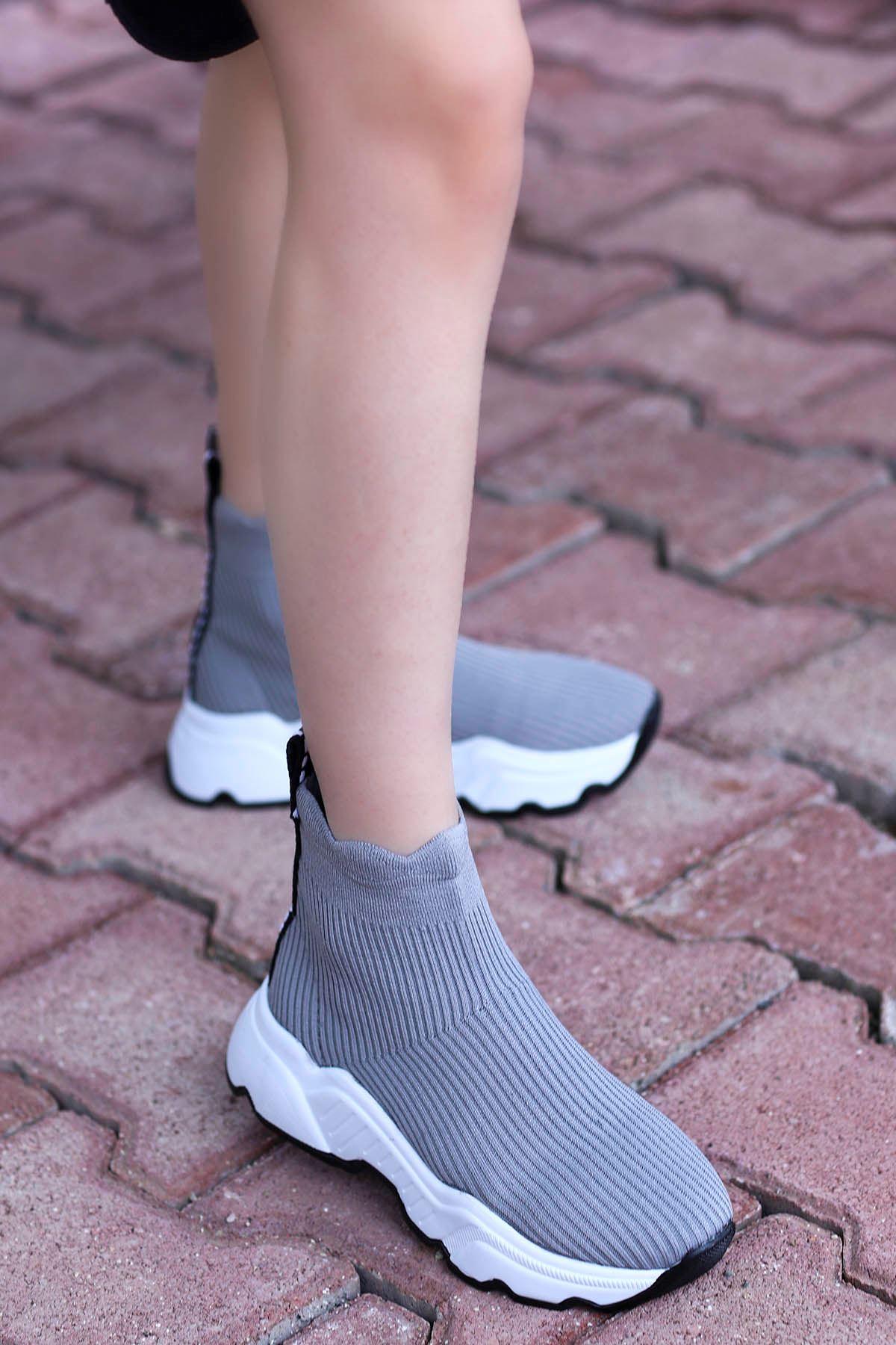 Tores Çorap Triko Spor Gri