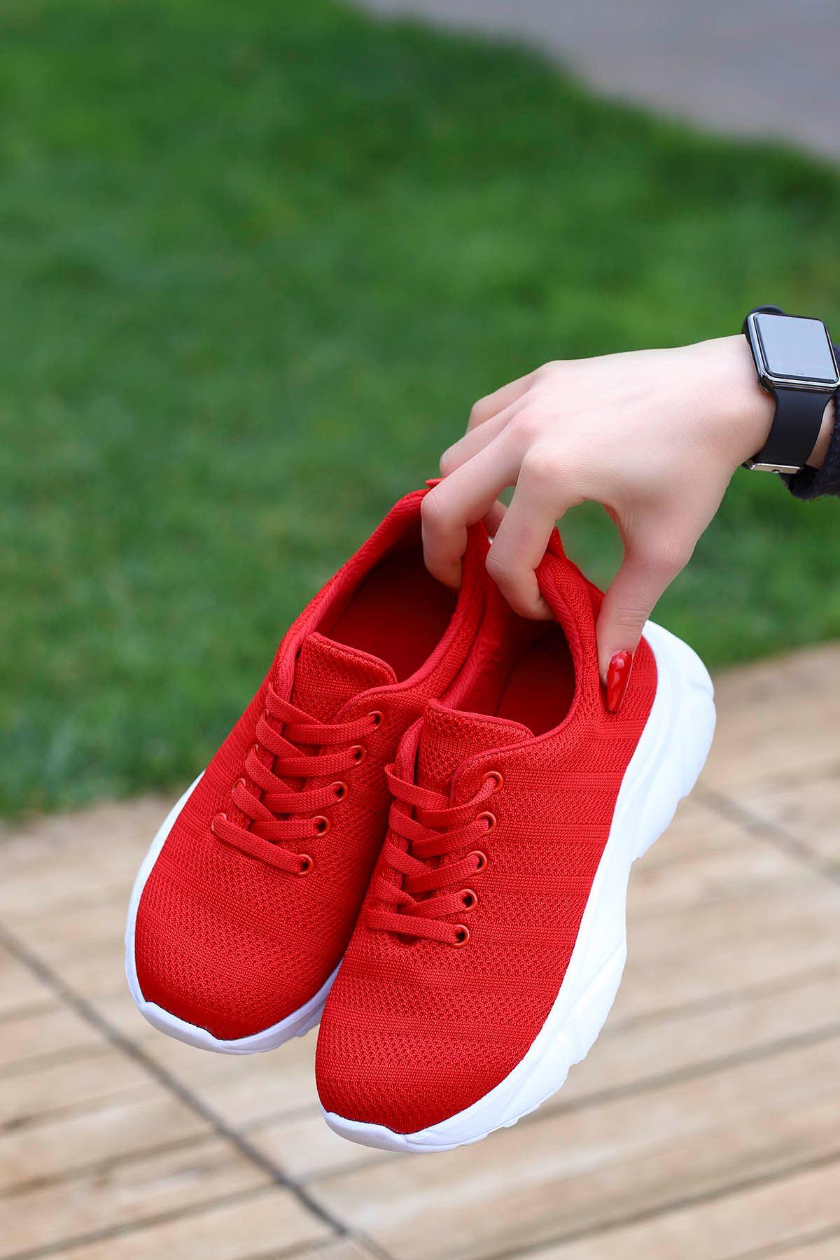 Jack Tabanlı Triko Spor Ayakkabı Kırmızı