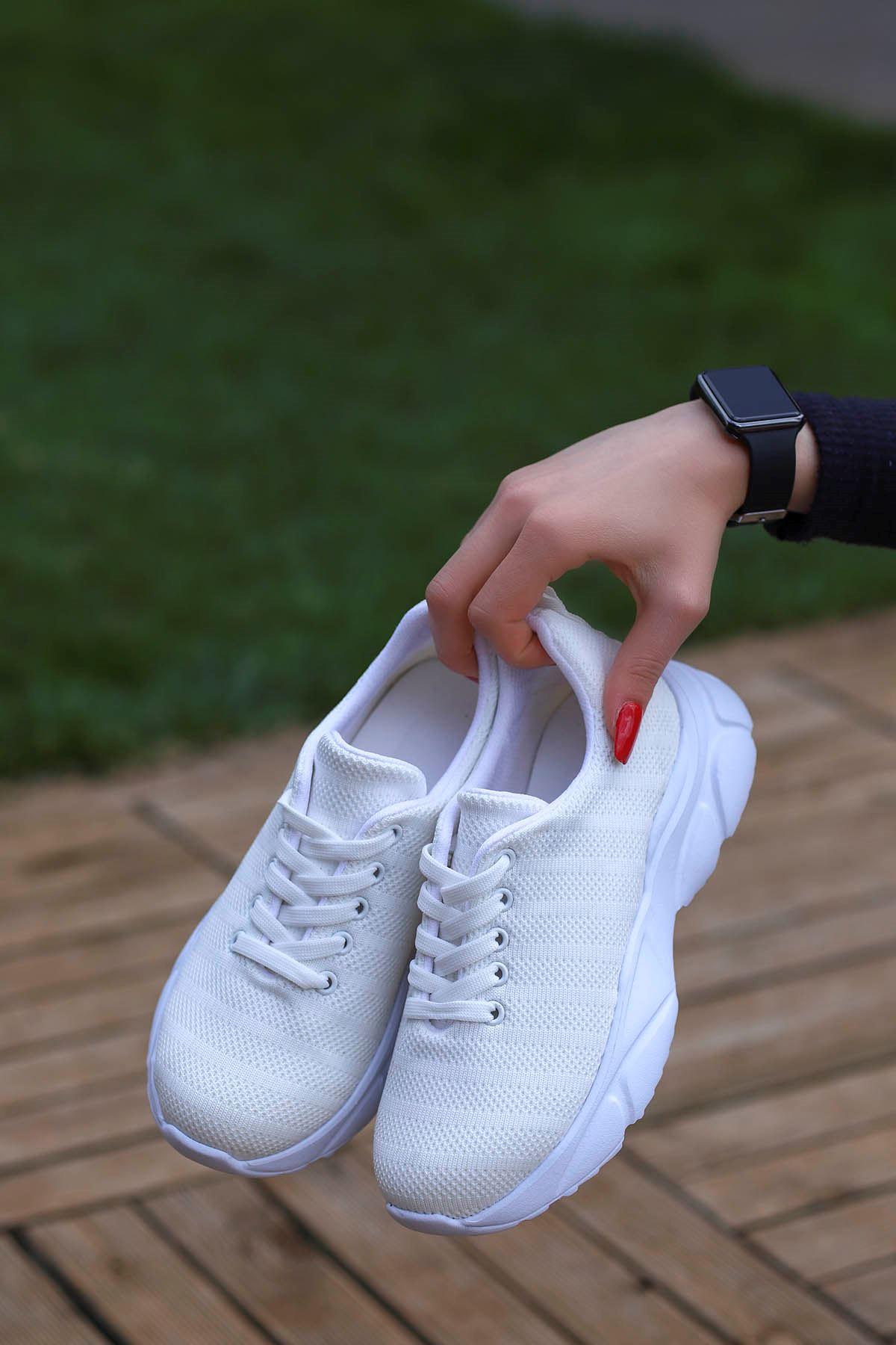 Jack Tabanlı Triko Spor Ayakkabı Beyaz