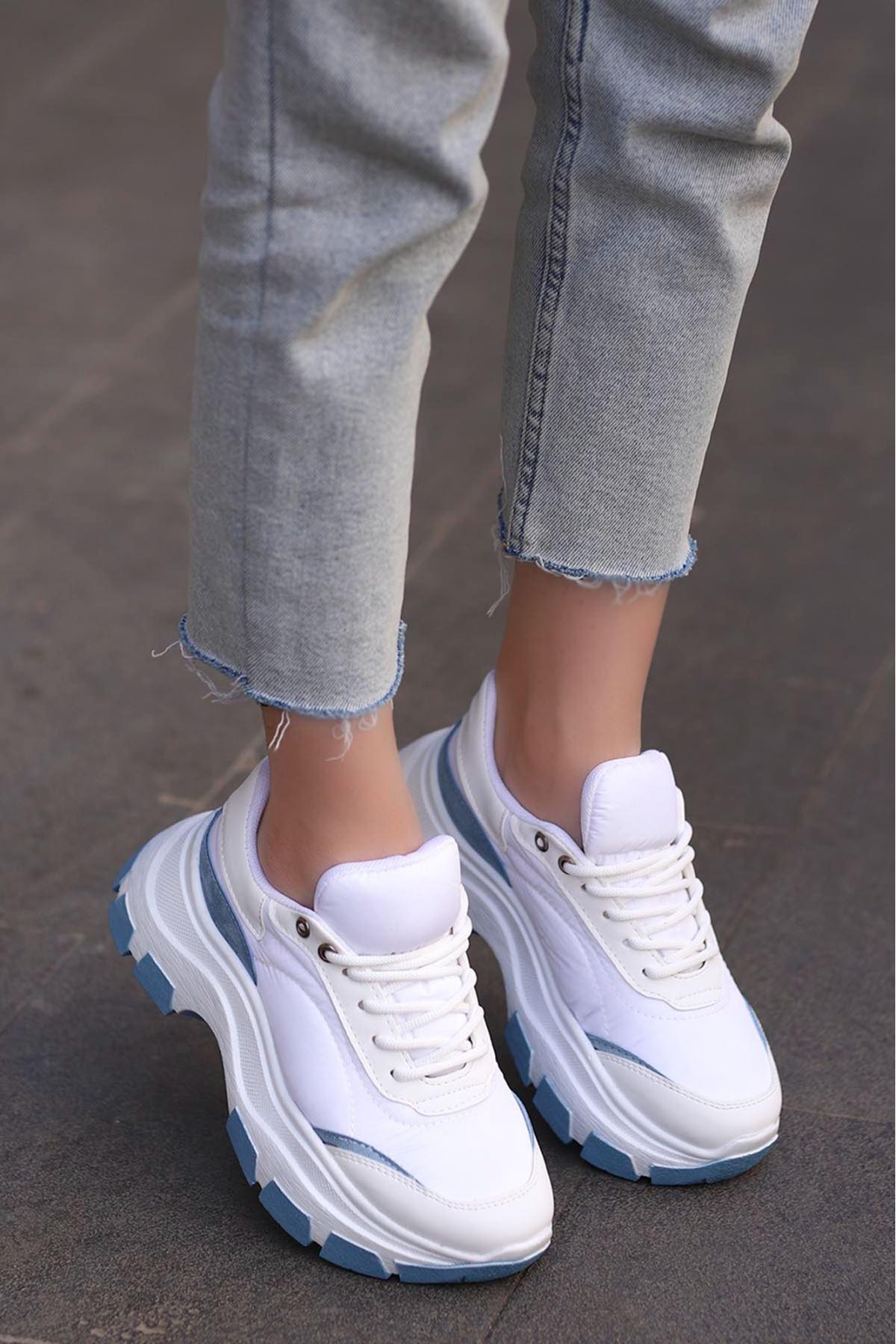 Conte Tabanlı Paraşut Spor Ayakkabı Mavi