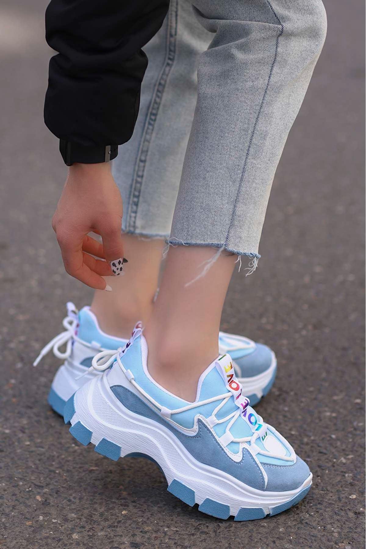 Jennifer Love Tabanlı Spor Ayakkabı Mavi