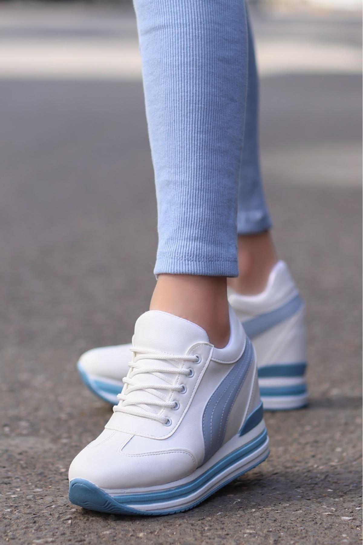 Rihanna Gizli Dolgu Spor Ayakkabı Mavi