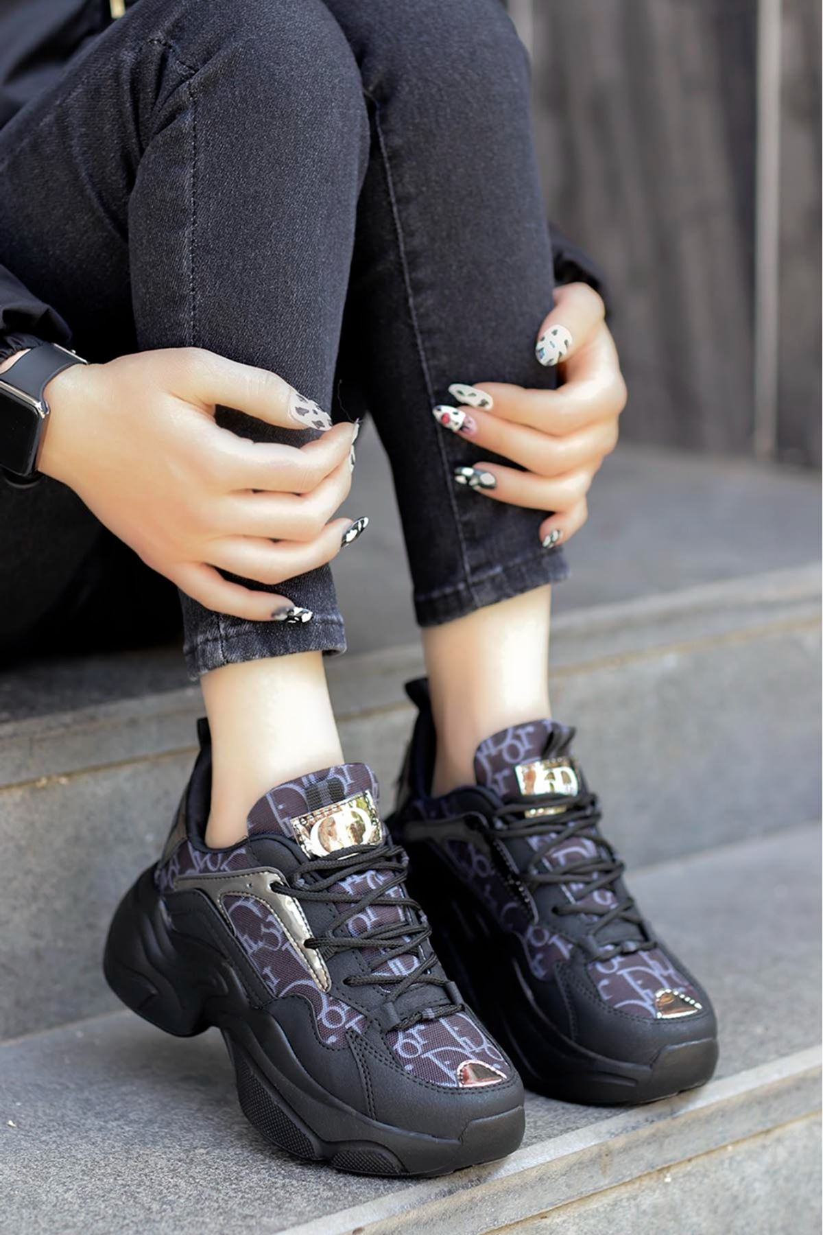 Sidney Tabanlı Spor Ayakkabı Siyah Platin