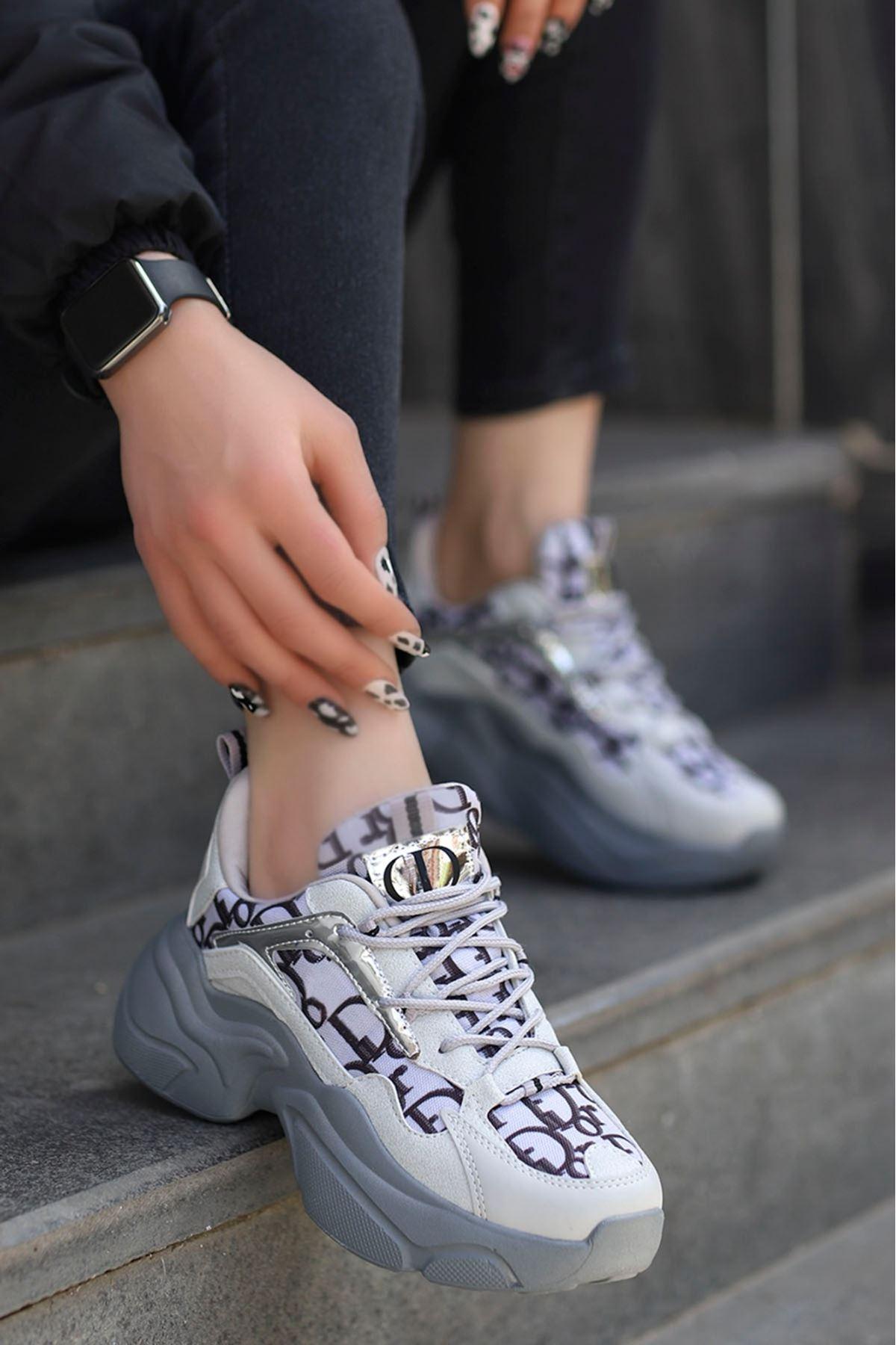 Sidney Tabanlı Spor Ayakkabı Gri Desenli