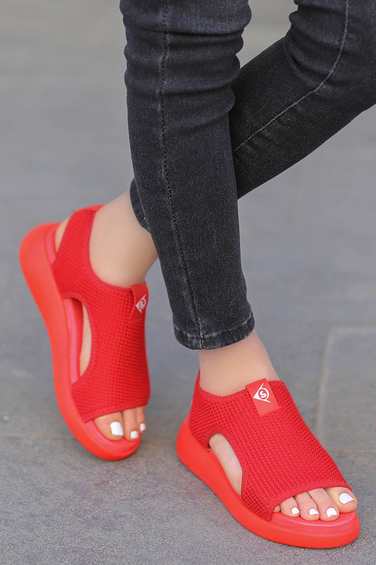 Pinto Triko Sandalet Kırmızı
