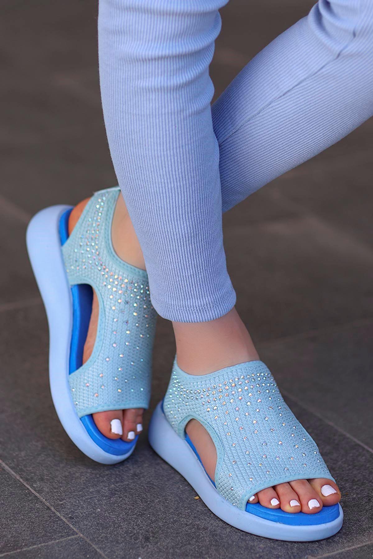 Calli Taşlı Triko Sandalet Mavi