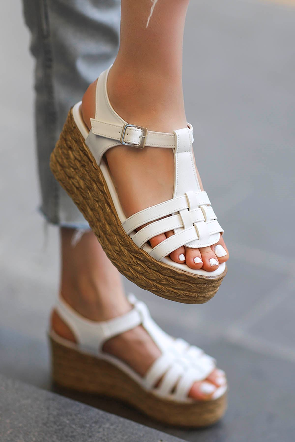 İzabel Dolgu Sandalet Beyaz