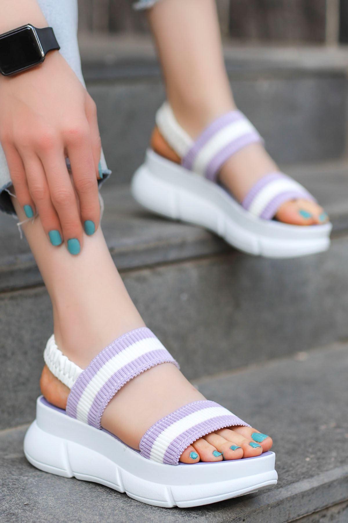 Caroline Triko Dolgu Sandalet Lila