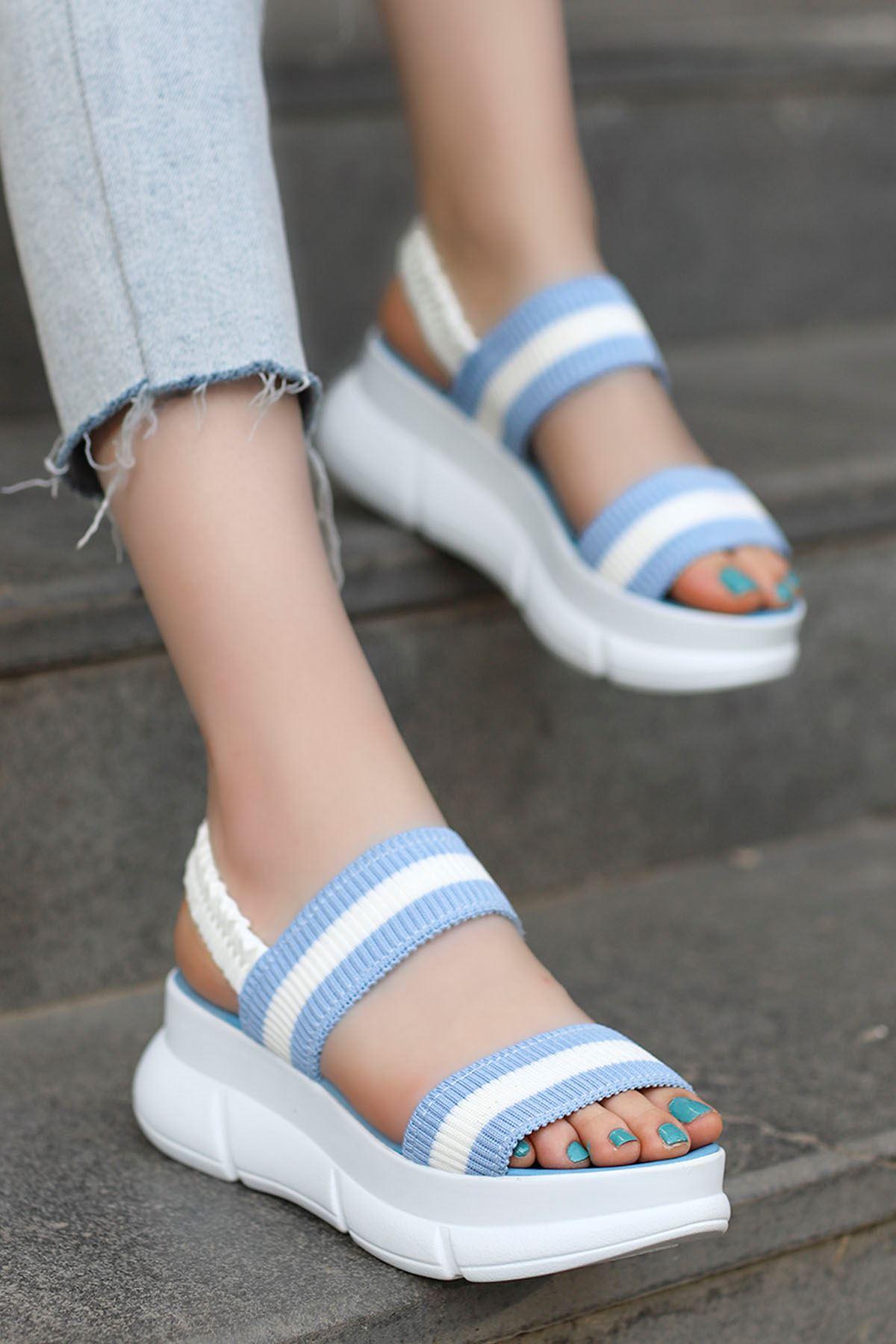 Caroline Triko Dolgu Sandalet Mavi