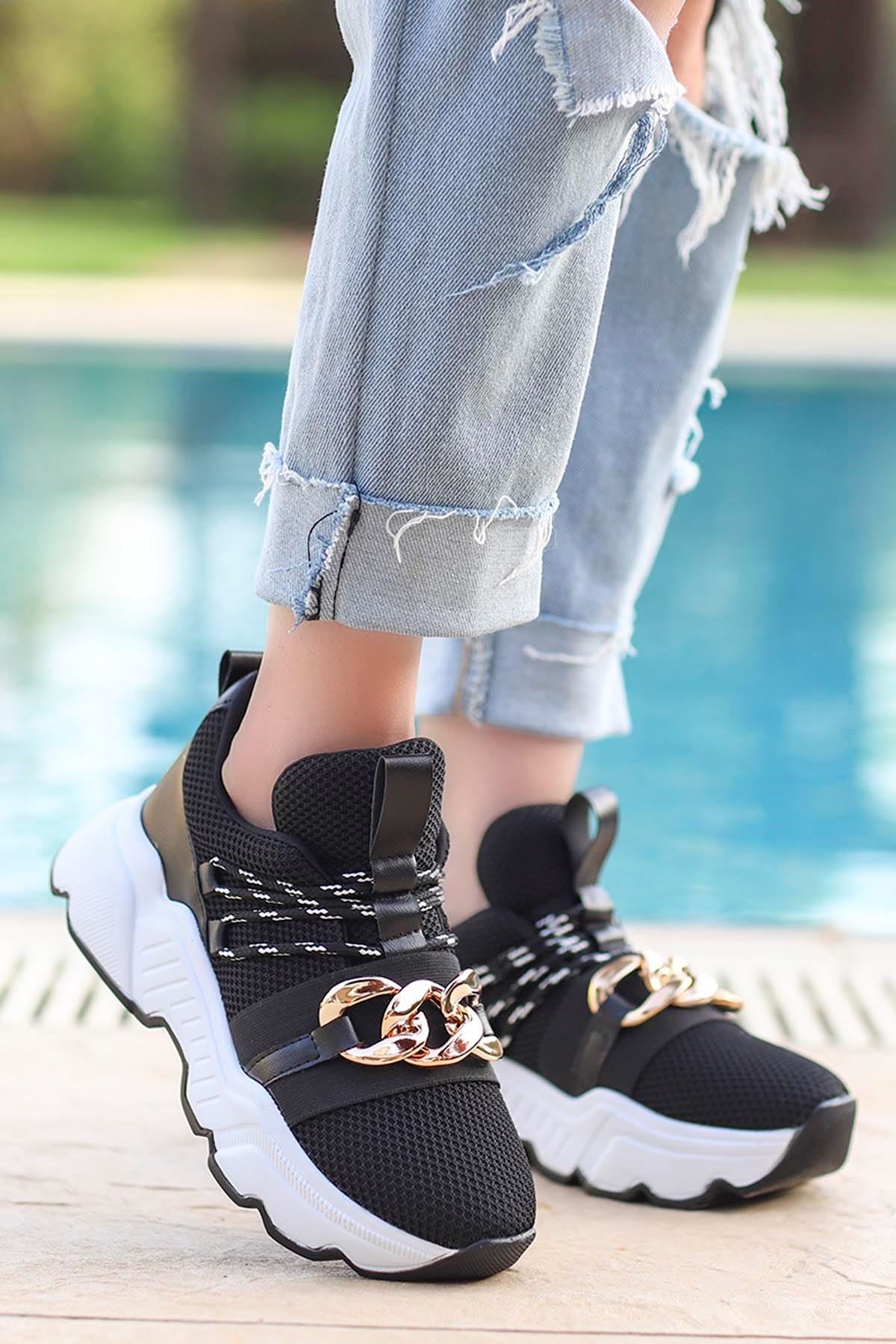 Edward Tokalı Günlük Sneakers Siyah