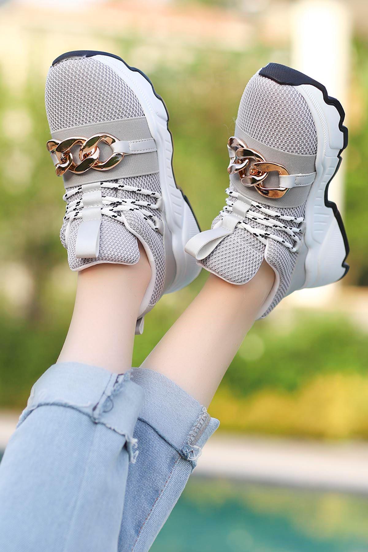 Edward Tokalı Günlük Sneakers Gri