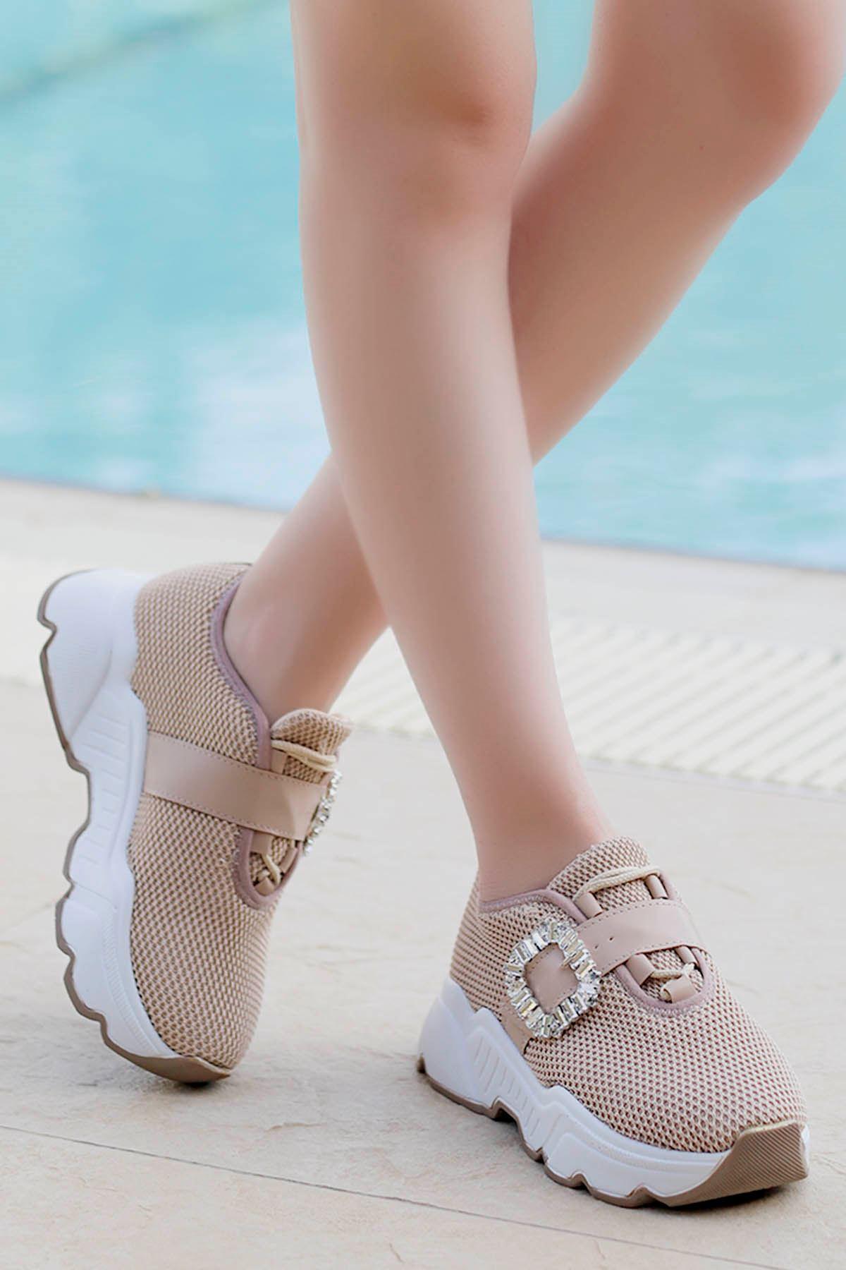 Barbara Taşlı Toka Günlük Sneakers Nud