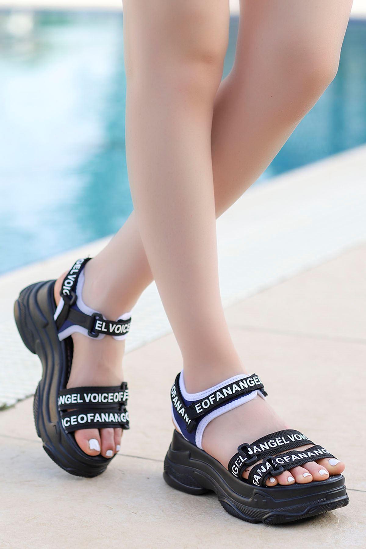 Hooly Dolgu Taban Sandalet Siyah