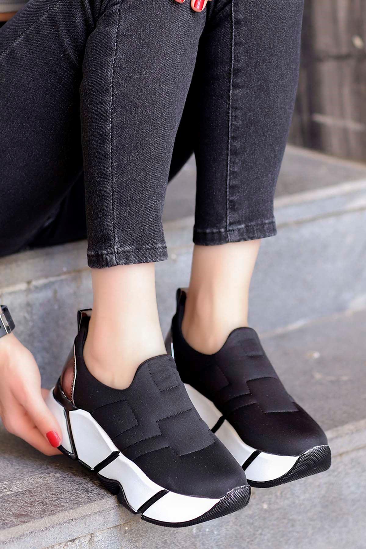 Brown Streç Spor Ayakkabı Siyah