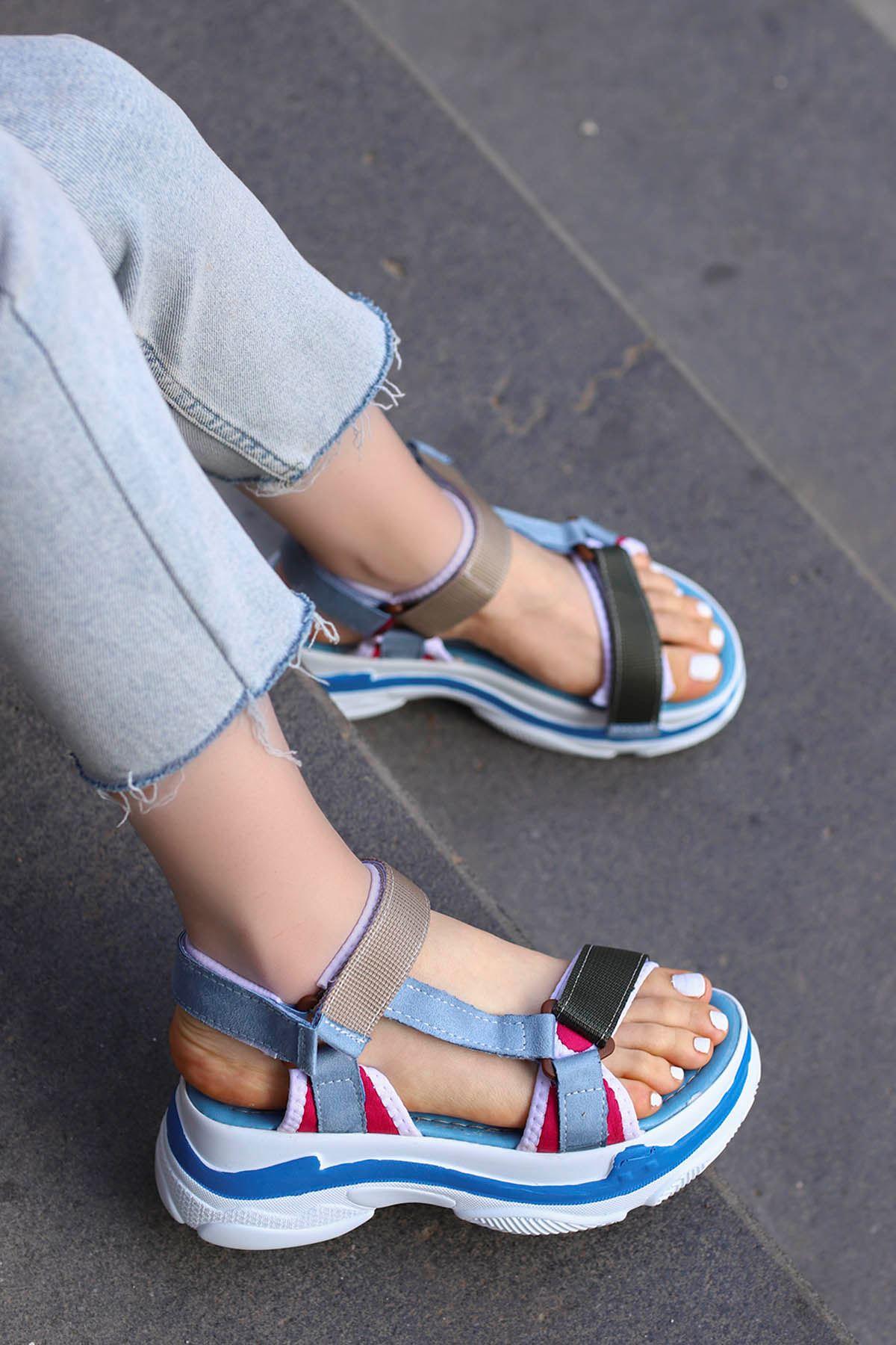 Rafael Dolgu Taban Sandalet Mavi/Vizyon