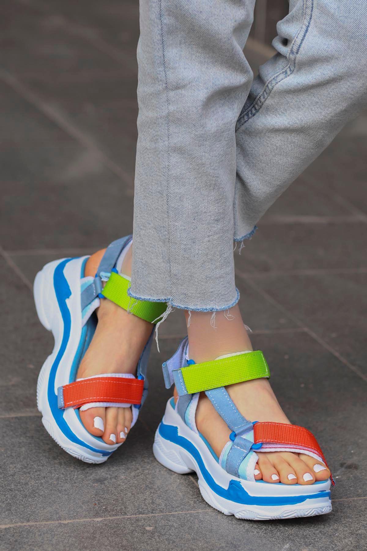 Rafael Dolgu Taban Sandalet Mavi/Turuncu