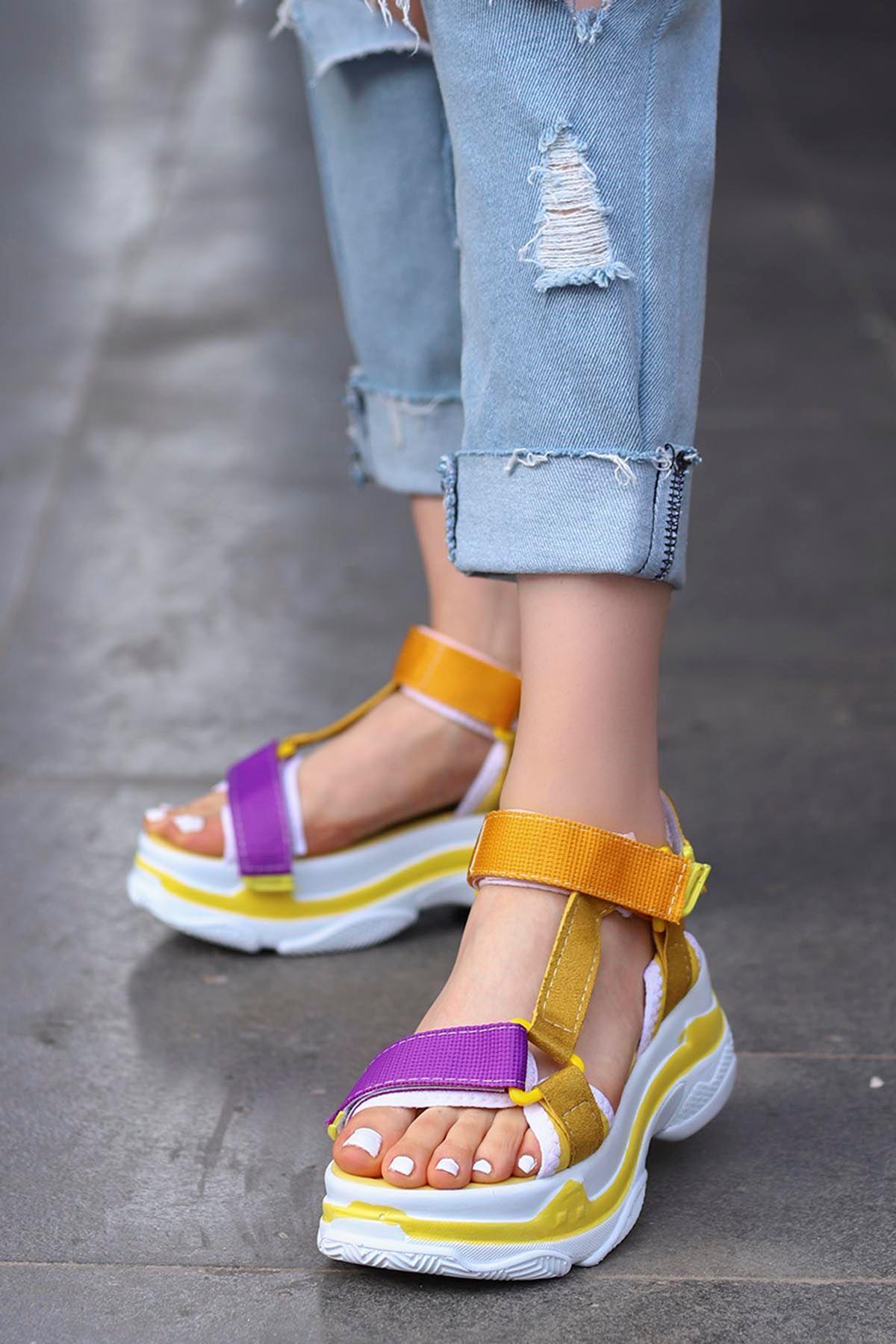 Rafael Dolgu Taban Sandalet Sarı/Mor