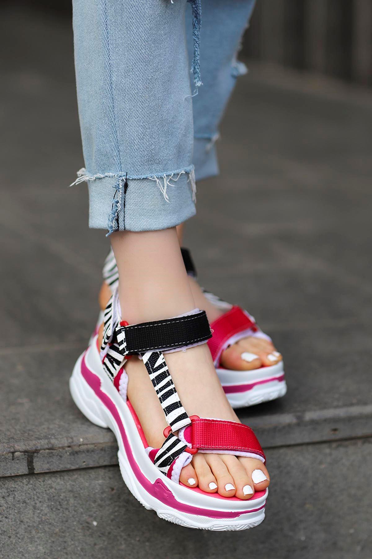 Rafael Dolgu Taban Sandalet Fuşya/Siyah