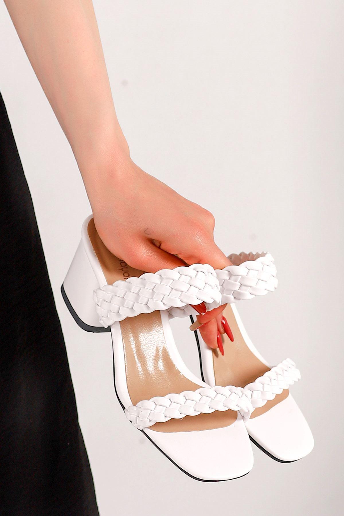 Lambo Örgü Topuklu Terlik Beyaz