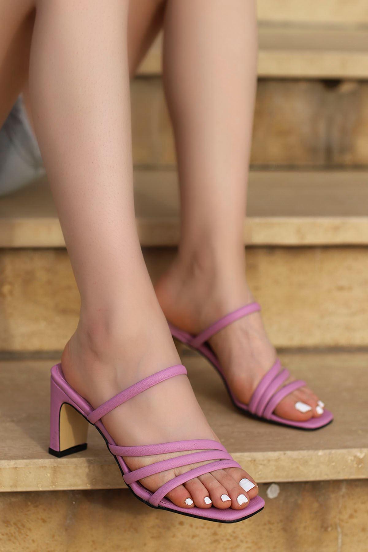 Mabel Bantlı Topuklu Terlik Lila