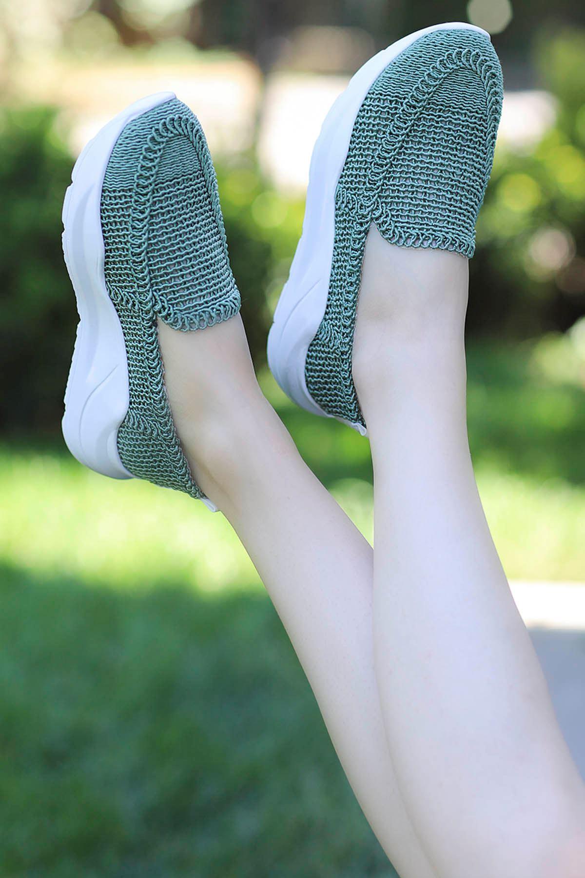 Farah Dantel Örgü Spor Ayakkabı Yeşil