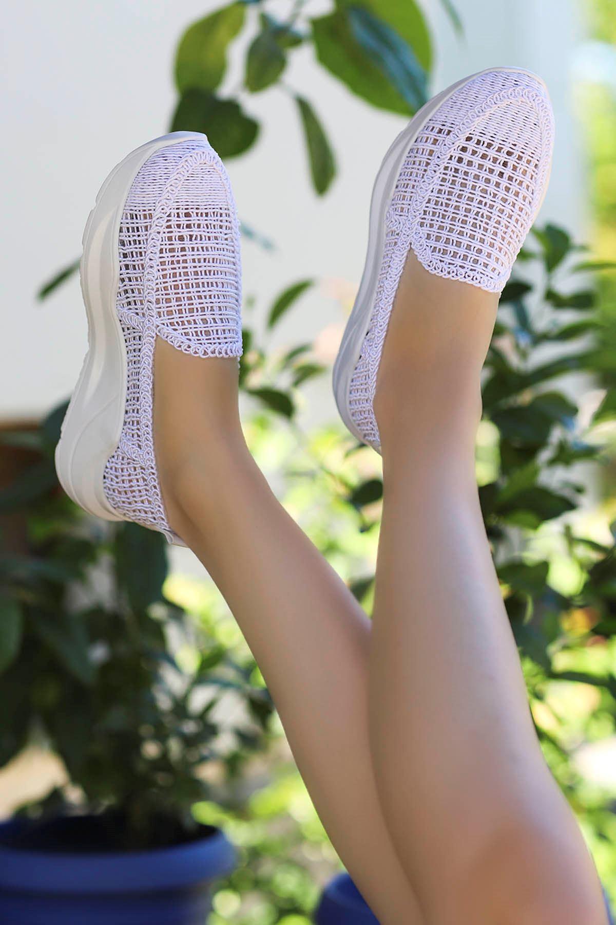 Farah Dantel Örgü Spor Ayakkabı Beyaz