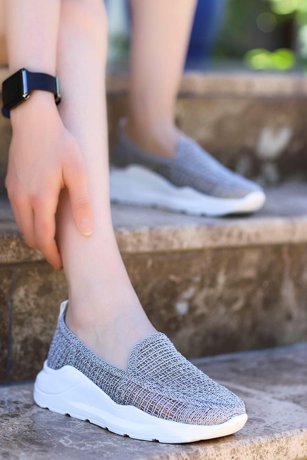 Farah Dantel Örgü Spor Ayakkabı Gri