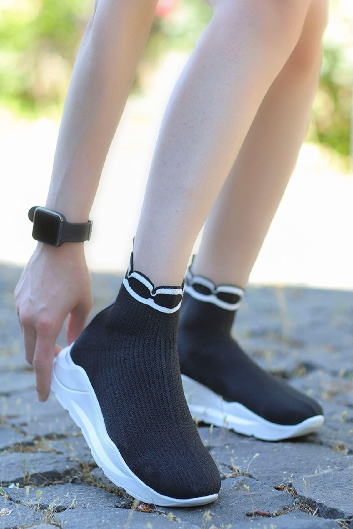 Wagner Triko Çorap Spor Ayakkabı Siyah