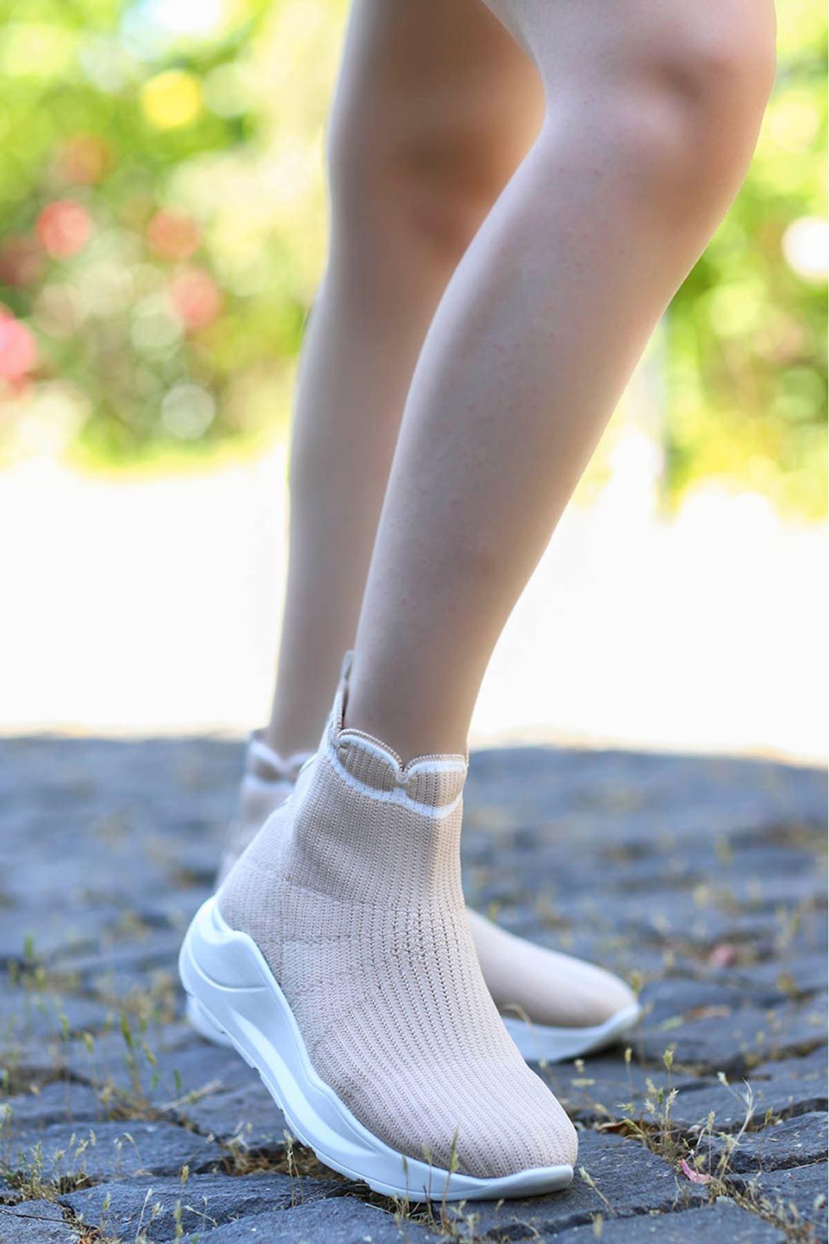 Wagner Triko Çorap Spor Ayakkabı Bej