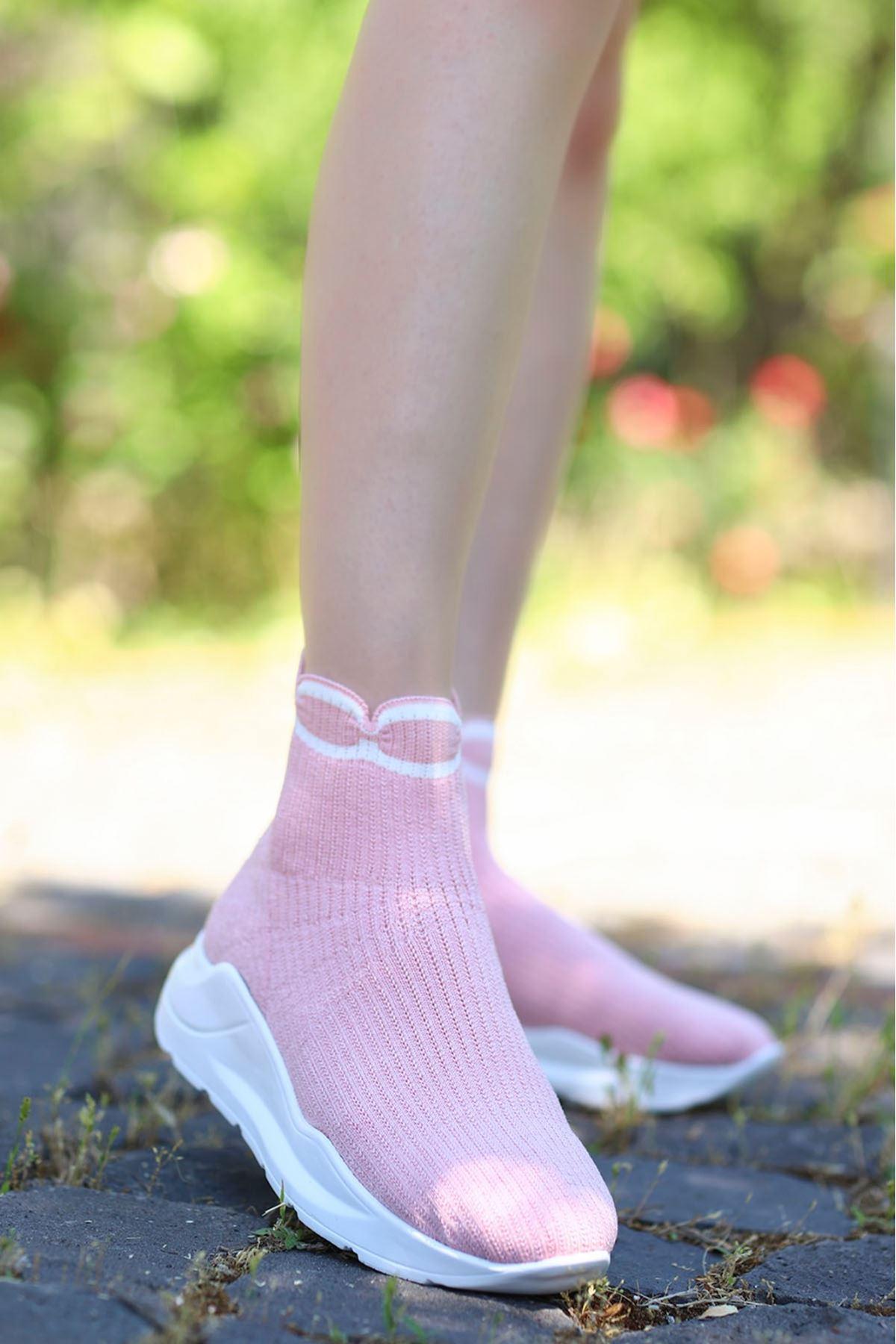 Wagner Triko Çorap Spor Ayakkabı Pudra