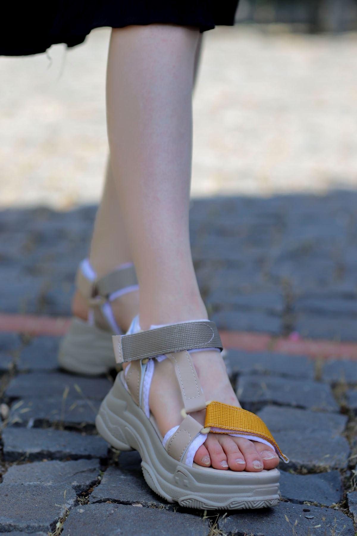 Rafael Dolgu Taban Sandalet Nud-Sarı