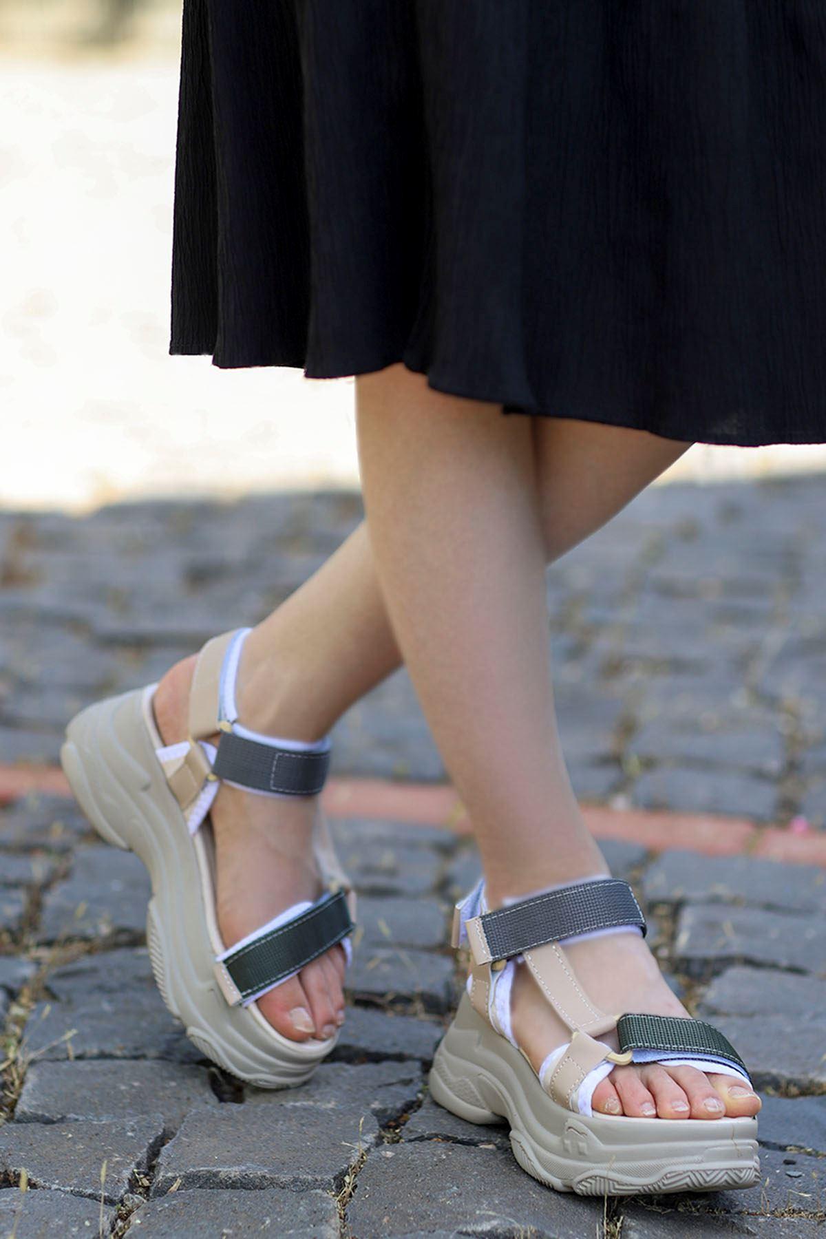 Rafael Dolgu Taban Sandalet Nud-Gri