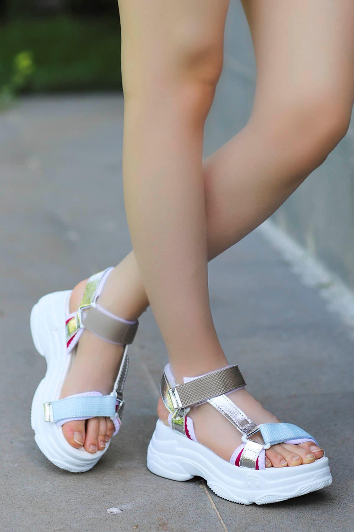 Rafael Dolgu Taban Sandalet Beyaz-Vizyon