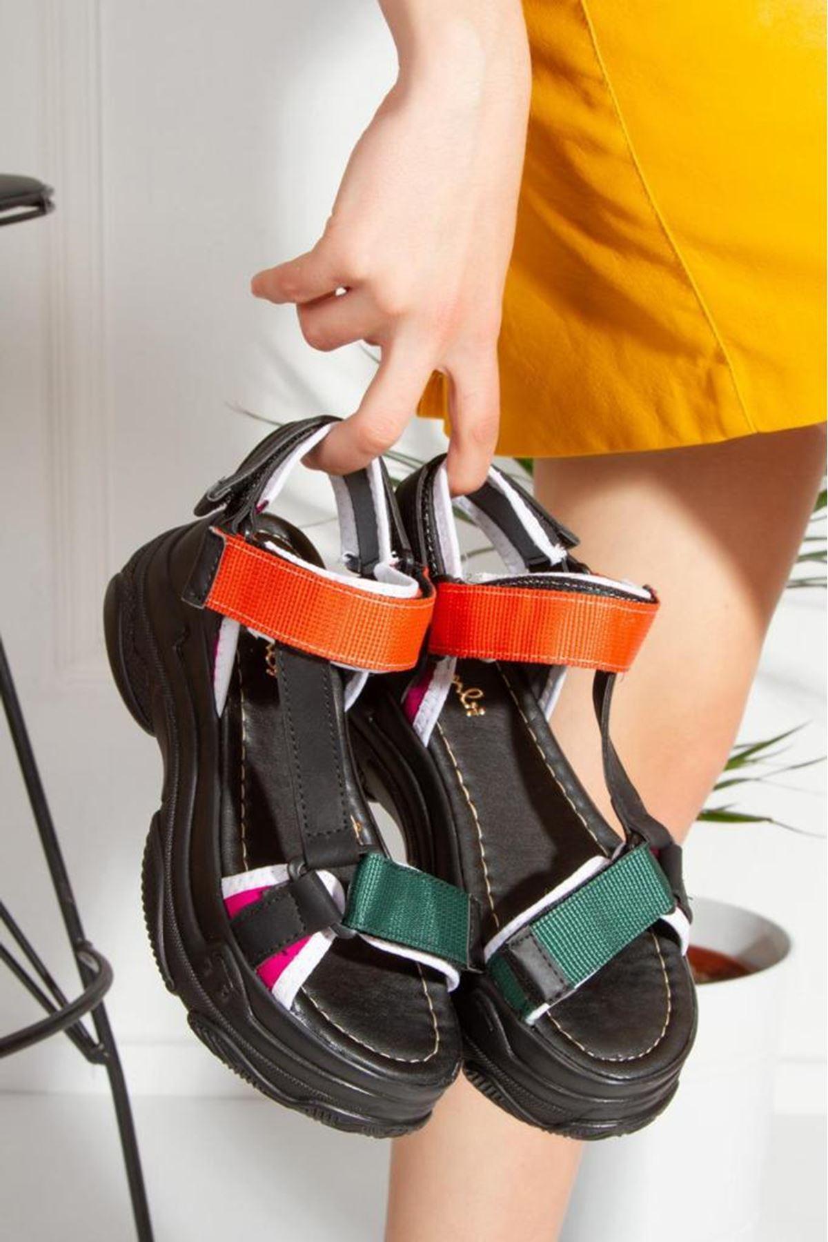 Rafael Dolgu Taban Sandalet Siyah-Turncu-Yeşil