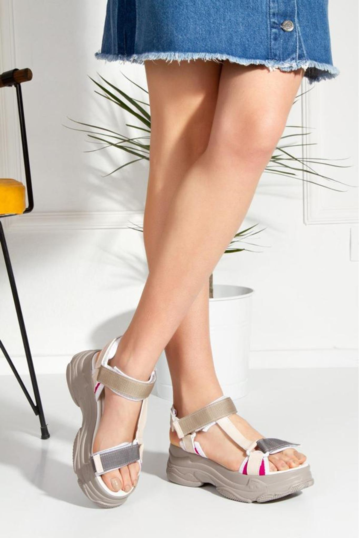 Rafael Dolgu Taban Sandalet Nud-Fuşya