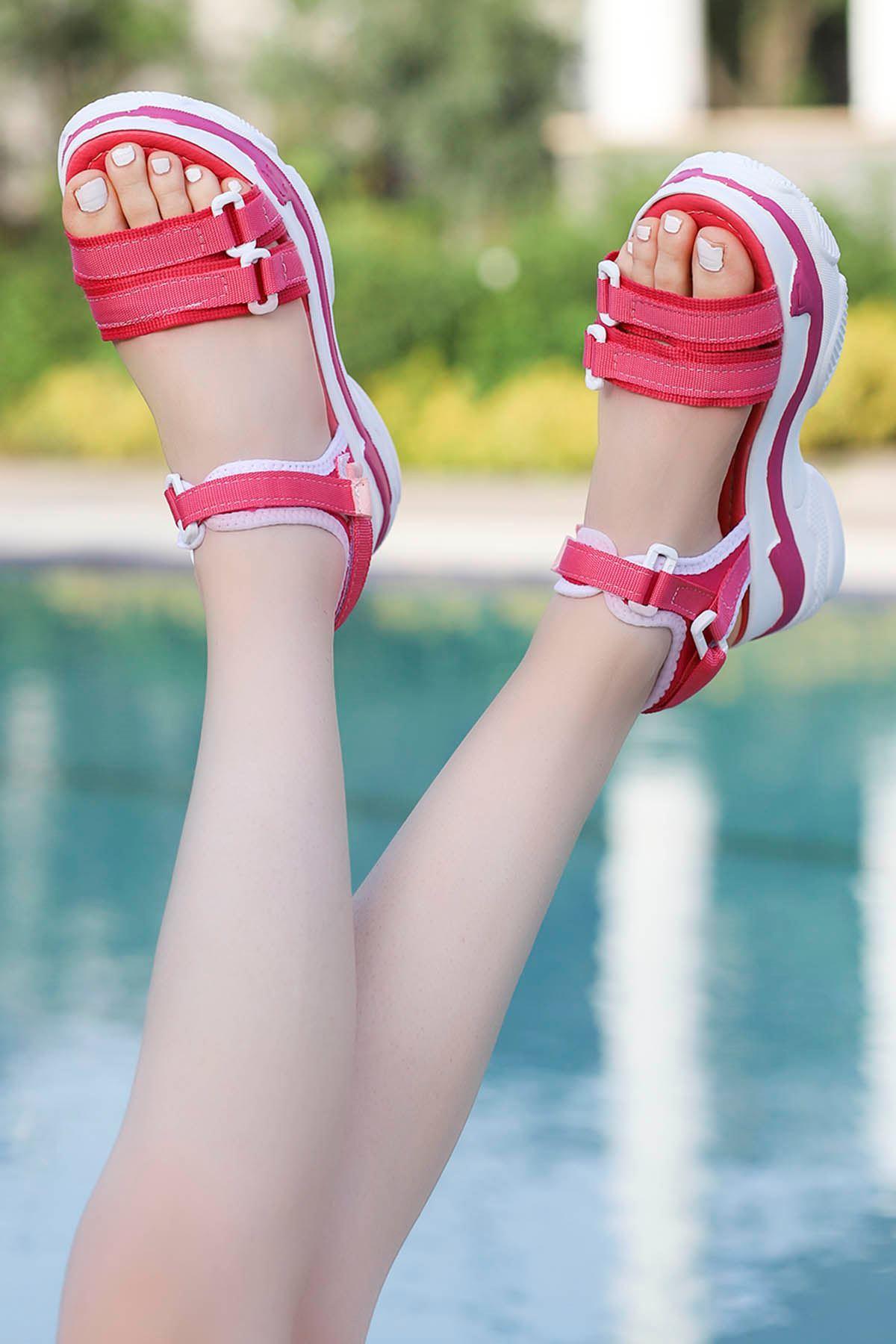 Hooly Dolgu Taban Sandalet Fuşya