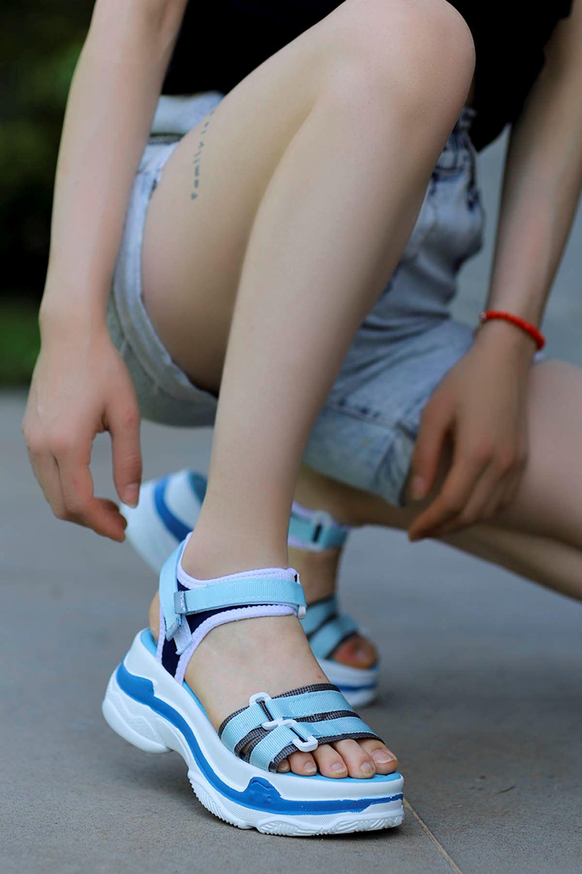 Hooly Dolgu Taban Sandalet Mavi