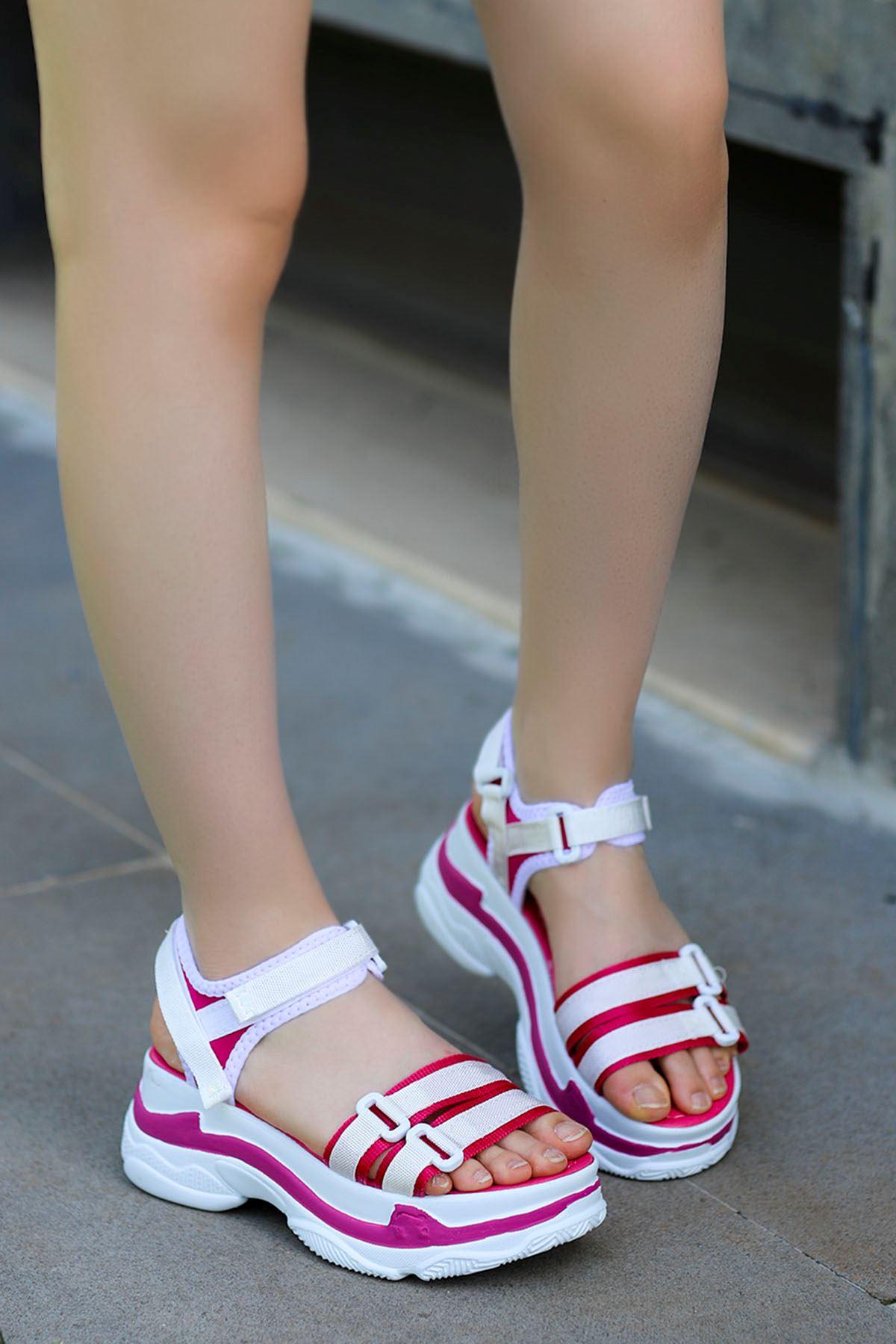 Hooly Dolgu Taban Sandalet Fuşya-Beyaz