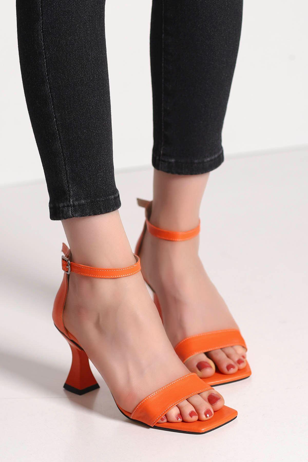 Lia Tek Bant Topuklu Ayakkabı Turuncu