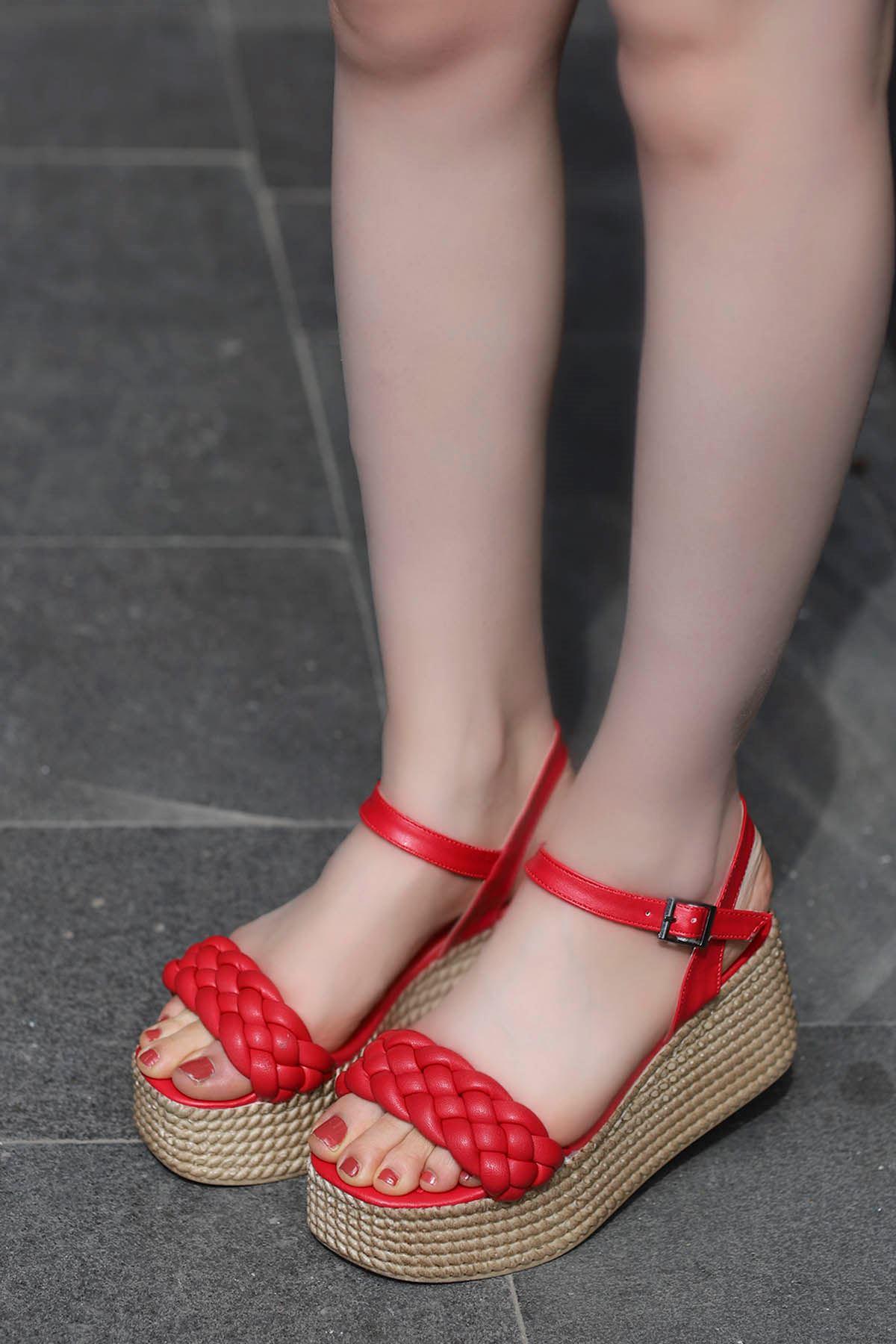 Diana Kemer Örgülü Sandalet Kırmızı