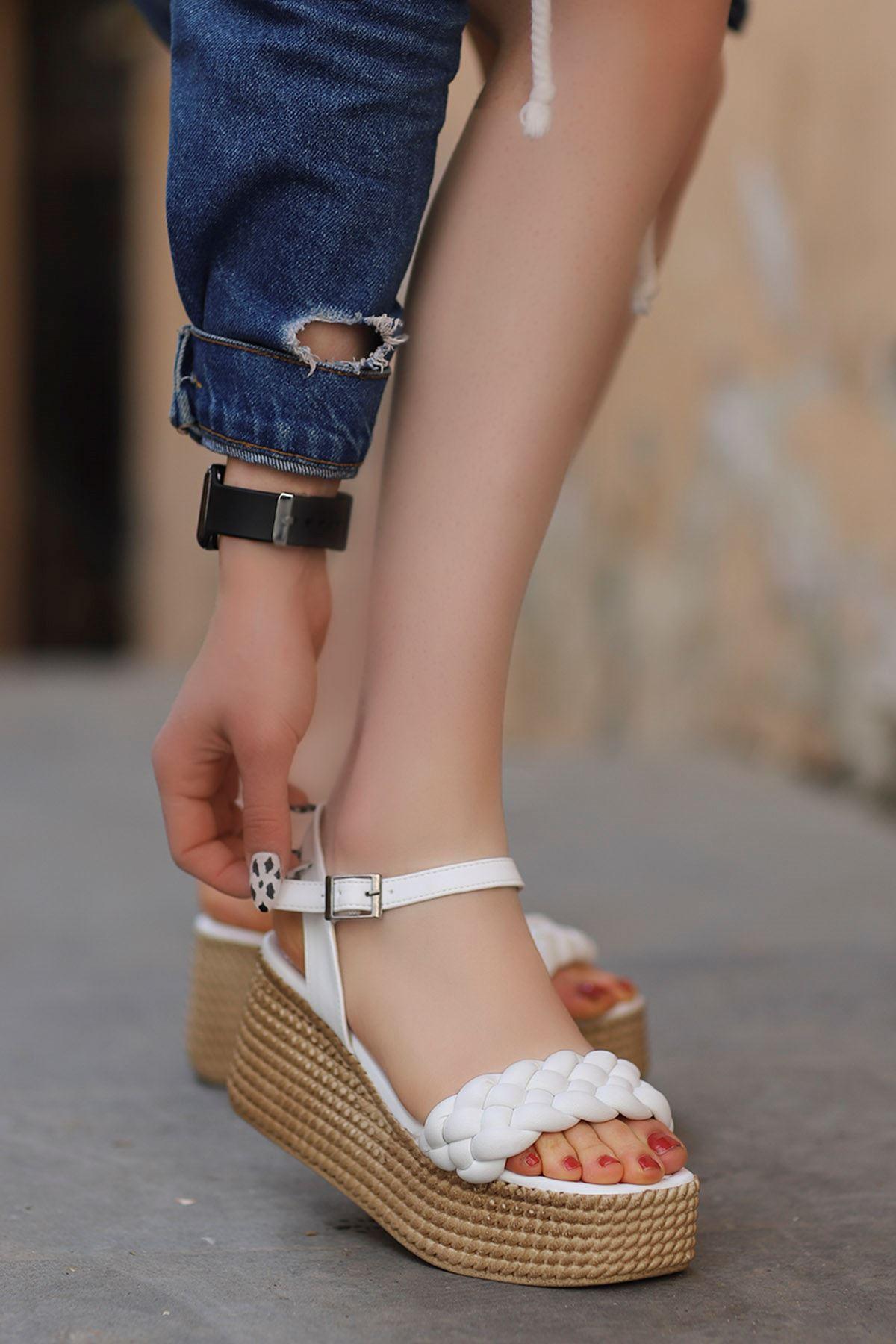 Diana Kemer Örgülü Sandalet Beyaz